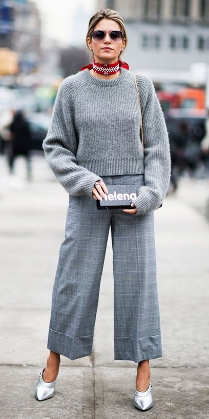 grayl-culottes-pants-grayl-sweater-gray-shoe-pumps-silver-plaid-red-scarf-neck-blonde-sun-fall-winter-lunch.jpg