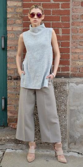 grayl-culottes-pants-tan-shoe-pumps-grayl-sweater-sleeveless-blonde-sun-fall-winter-lunch.jpg