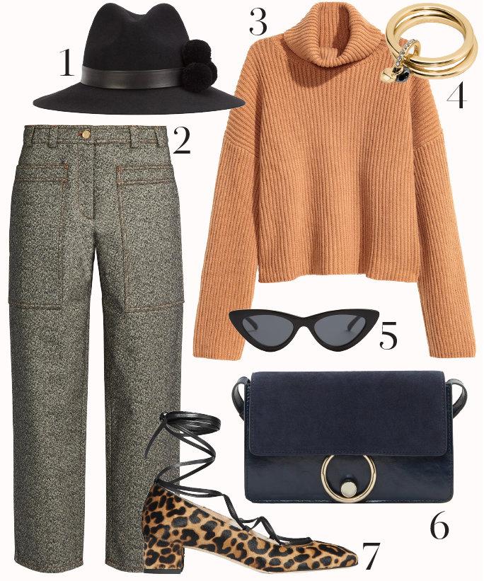 grayl-culottes-pants-camel-sweater-blue-bag-style-fall-winter-turtleneck-tweed-leopard-tan-shoe-pumps-hat-sun-office-work.jpg