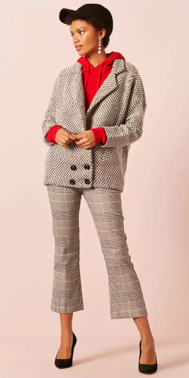grayl-culottes-pants-plaid-print-white-jacket-blazer-red-sweater-sweatshirt-hoodie-earrings-brun-hat-cap-black-shoe-pumps-fall-winter-lunch.jpg