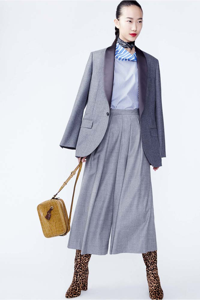 grayl-culottes-pants-blue-light-top-grayl-jacket-blazer-yellow-bag-brun-howtowear-fashion-style-outfit-fall-winter-suit-pinstripe-neck-black-scarf-bandana-leopard-tan-shoe-booties-jcrew-work.jpg