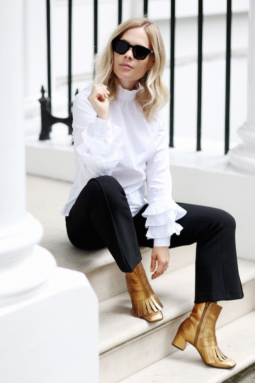 black-culottes-pants-tan-shoe-booties-gold-white-top-blouse-peasant-blonde-sun-fall-winter-lunch.jpg
