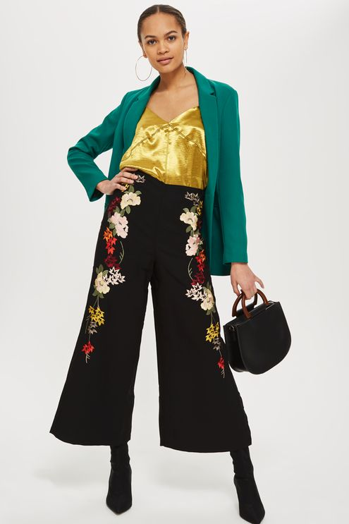 black-culottes-pants-embroidered-yellow-cami-brun-bun-hoops-green-emerald-jacket-blazer-black-bag-black-shoe-booties-fall-winter-dinner.jpg