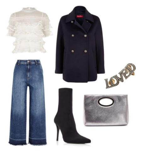 blue-med-culottes-pants-white-top-blouse-gray-bag-clutch-silver-black-shoe-booties-black-jacket-coat-peacoat-fall-winter-dinner.jpg