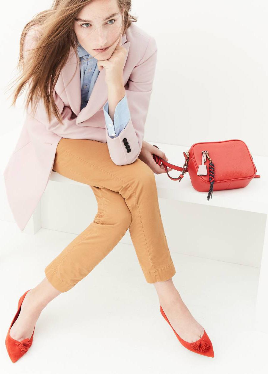 camel-chino-pants-blue-light-collared-shirt-pink-light-jacket-coat-red-bag-jcrew-red-shoe-flats-fall-winter-hairr-lunch.jpg