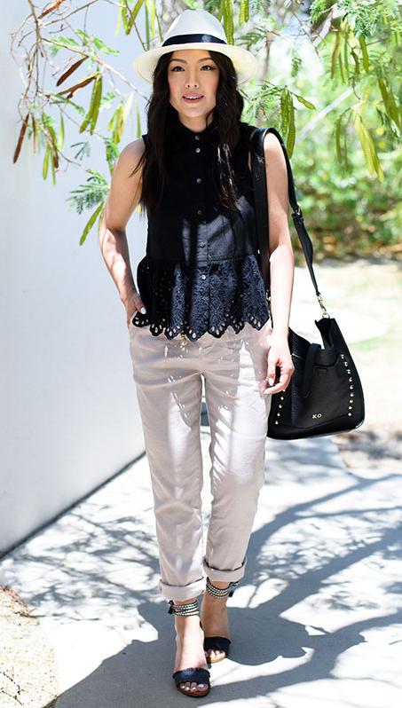 white-chino-pants-black-top-blouse-black-bag-black-shoe-sandalh-hat-panama-spring-summer-brun-lunch.jpg