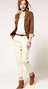 white-chino-pants-white-collared-shirt-camel-jacket-blazer-belt-hairr-pony-cognac-shoe-booties-socks-fall-winter-lunch.jpg