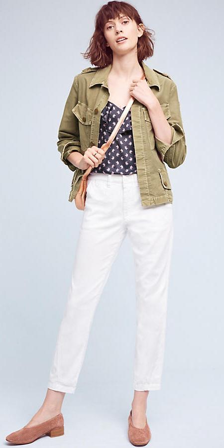 white-chino-pants-blue-navy-cami-print-green-olive-jacket-utility-tan-bag-tan-shoe-flats-spring-summer-hairr-lunch.jpg