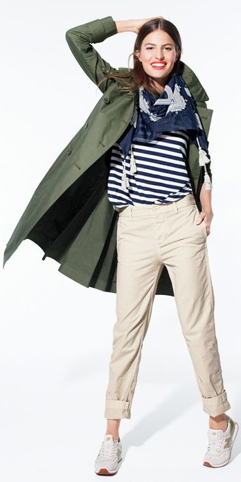 white-chino-pants-blue-navy-tee-stripe-blue-navy-scarf-green-olive-jacket-coat-white-shoe-sneakers-fall-winter-hairr-weekend.jpg