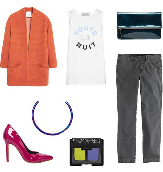 grayd-chino-pants-white-graphic-tee-orange-jacket-coatigan-necklace-magenta-shoe-pumps-green-bag-clutch-spring-summer-night-dinner.jpg