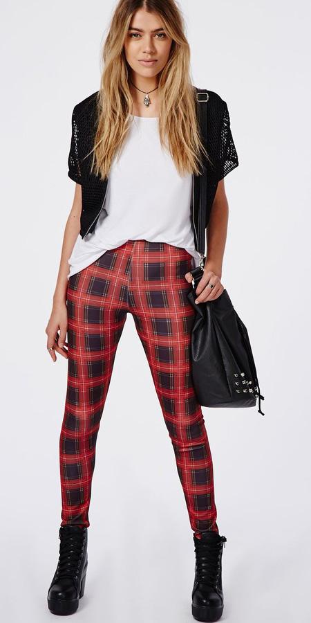 red-leggings-white-tee-black-cardigan-plaid-tartan-print-black-shoe-booties-black-bag-fall-winter-blonde-weekend.jpg