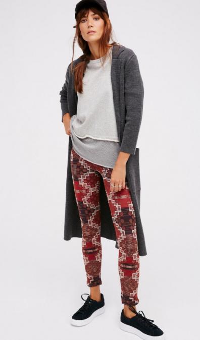 red-leggings-zprint-grayl-sweater-wear-outfit-fashion-fall-winter-black-shoe-sneakers-grayd-cardiganl-hairr-hat-cap-aztec-weekend.jpg