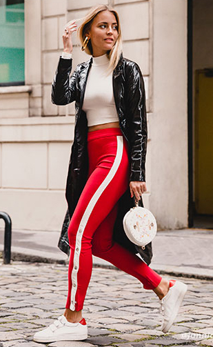red-leggings-trackpants-white-crop-top-white-bag-black-jacket-coat-patent-leather-hoops-blonde-white-shoe-sneakers-fall-winter-lunch.jpg
