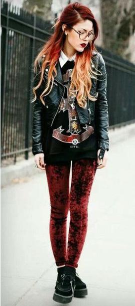 red-leggings-black-sweater-black-jacket-moto-black-shoe-brogues-velvet-fall-winter-hairr-lunch.jpg