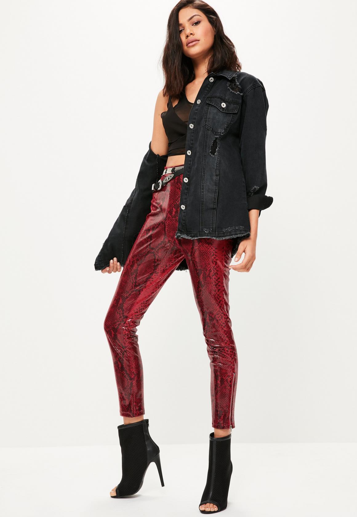 red-leggings-black-crop-top-black-crop-top-black-jacket-jean-oversized-snakeskin-leather-black-shoe-booties-fall-winter-brun-dinner.jpg