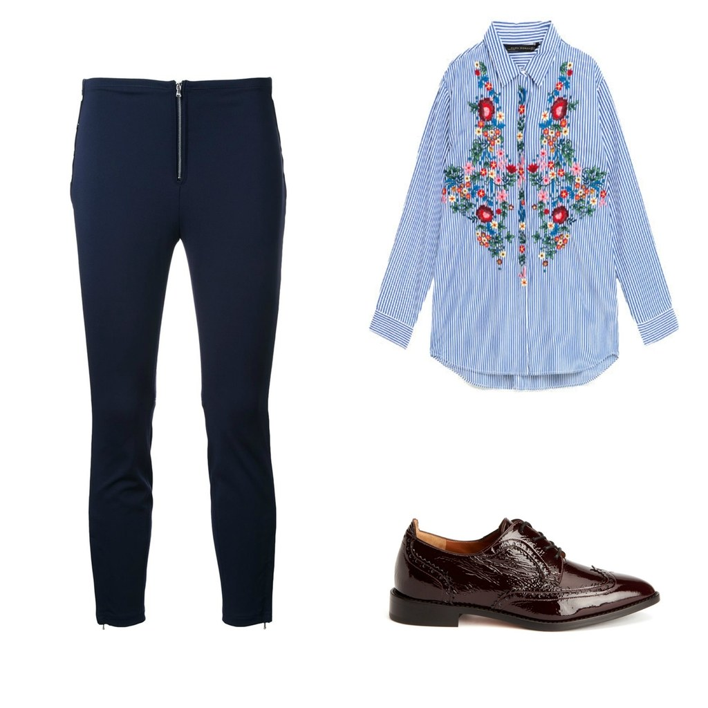 blue-navy-leggings-blue-med-collared-shirt-floral-embroidery-burgundy-shoe-brogues-fall-winter-work.jpg