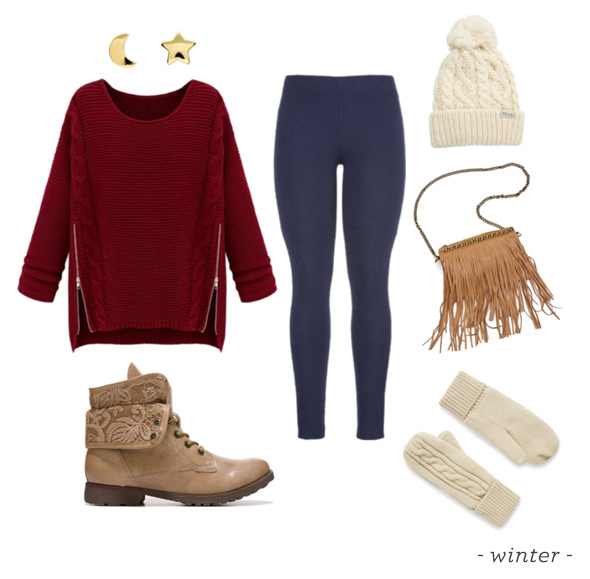 blue-navy-leggings-burgundy-sweater-cognac-bag-fringe-tan-shoe-booties-gloves-studs-beanie-snow-fall-winter-outfit-weekend.jpg