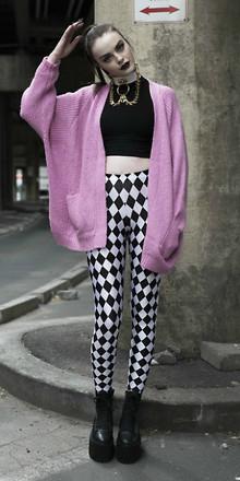 white-leggings-print-checkered-black-crotp-top-necklace-pony-pink-light-cardiganl-black-shoe-booties-fall-winter-hairr-dinner.jpg