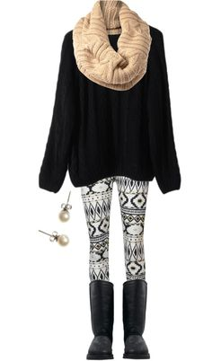 white-leggings-zprint-black-sweater-black-shoe-boots-fairisle-wear-outfit-fashion-fall-winter-tan-scarf-pearl-studs-weekend.jpg