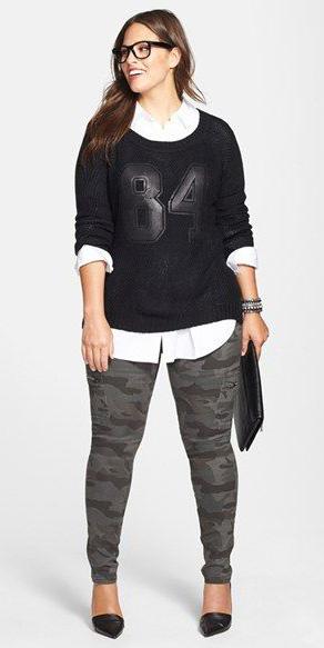 grayd-leggings-camo-print-black-sweater-layer-white-collared-shirt-black-shoe-pumps-fall-winter-brun-lunch.jpg