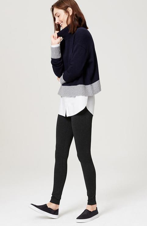 grayd-leggings-white-collared-shirt-blue-navy-sweater-turtleneck-wear-style-fashion-spring-summer-black-shoe-sneakers-hairr-weekend.jpg