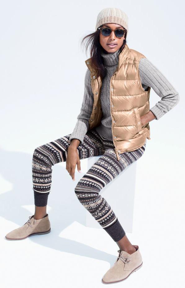 grayd-leggings-fairisle-print-grayl-sweater-turtleneck-tan-shoe-booties-tan-vest-puffer-gold-beanie-sun-fall-winter-brun-weekend.jpg