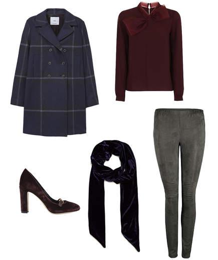 grayd-leggings-burgundy-sweater-blue-navy-jacket-coat-plaid-brown-shoe-pumps-velvet-blue-navy-scarf-fall-winter-lunch.jpg