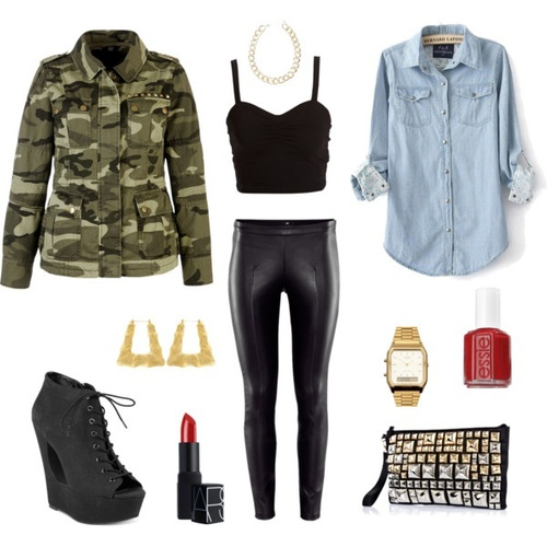 black-leggings-leather-chain-necklace-watch-nail-black-shoe-booties-blue-light-collared-shirt-green-olive-jacket-utility-camo-print-black-cami-fall-winter-dinner.jpg