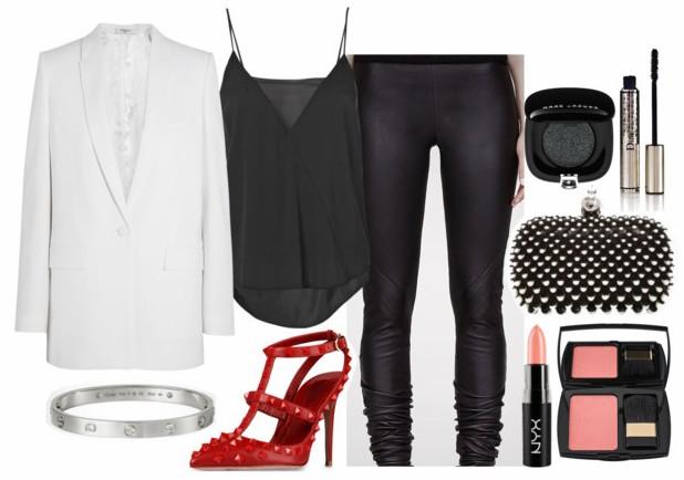 black-leggings-red-shoe-pumps-bracelet-black-bag-clutch-white-jacket-blazer-boyfriend-black-cami-fall-winter-dinner.jpg