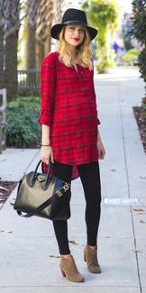 red-dress-zprint-plaid-black-leggings-pants-tan-shoe-booties-black-bag-maternity-shirt-tunic-wear-style-fashion-fall-winter-hat-blonde-lunch.jpg