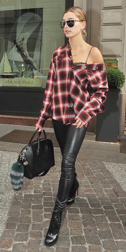 black-leggings-red-plaid-shirt-black-bralette-sun-bun-black-bag-black-shoe-booties-leather-haileybaldwin-fall-winter-weekend.jpg