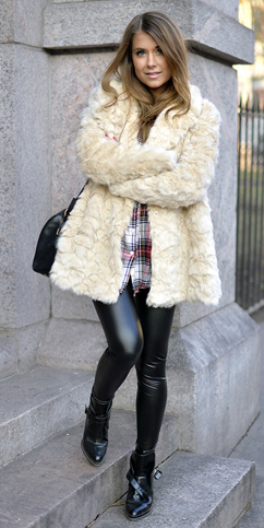 black-leggings-red-plaid-shirt-white-jacket-coat-fur-fuzz-black-bag-howtowear-fashion-style-outfit-fall-winter-leather-black-shoe-booties-street-hairr-weekend.jpg