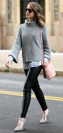 black-leggings-leather-grayl-sweater-pink-bag-gray-shoe-pumps-sun-earrings-grayl-plaid-shirt-fall-winter-hairr-lunch.jpg