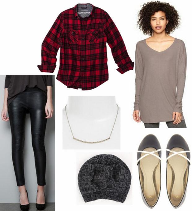 black-leggings-o-tan-tee-tunic-red-plaid-shirt-wear-outfit-fashion-fall-winter-black-shoe-flats-necklace-beanie-lunch.jpg