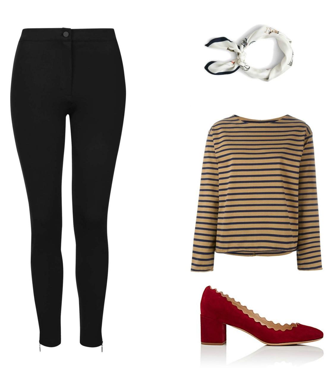 black-leggings-tan-tee-stripe-red-shoe-pumps-white-scarf-neck-fall-winter-work.jpg