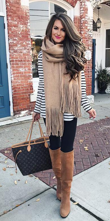 black-leggings-black-tee-stripe-tan-scarf-layer-brown-bag-tote-hairr-cognac-shoe-boots-fall-winter-weekend.jpg