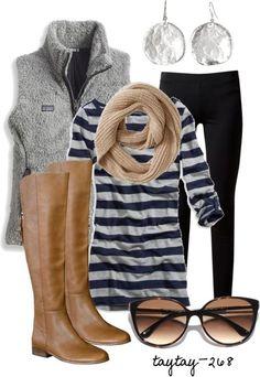 black-leggings-blue-navy-tee-stripe-tan-scarf-grayl-vest-sun-earrings-cognac-shoe-boots-howtowear-fashion-style-fall-winter-outfit-weekend.jpg