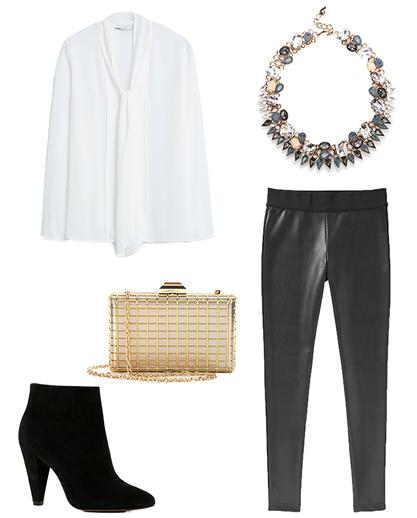 black-leggings-leather-white-top-blouse-necklace-tan-bag-gold-black-shoe-booties-fall-winter-dinner.jpg