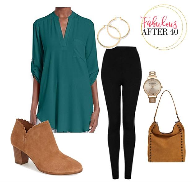 black-leggings-green-emerald-top-blouse-tan-shoe-booties-tan-bag-watch-hoops-fall-winter-lunch.jpg