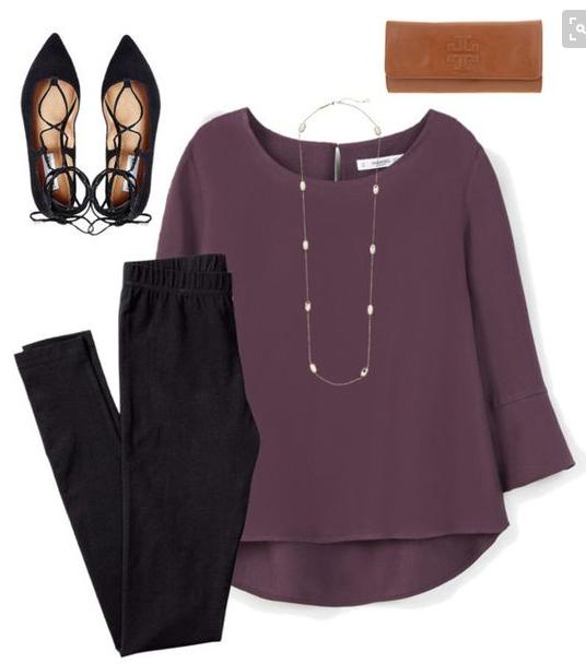 black-leggings-purple-royal-top-blouse-necklace-black-shoe-flats-cognac-bag-clutch-howtowear-fashion-style-outfit-fall-winter-work.jpg