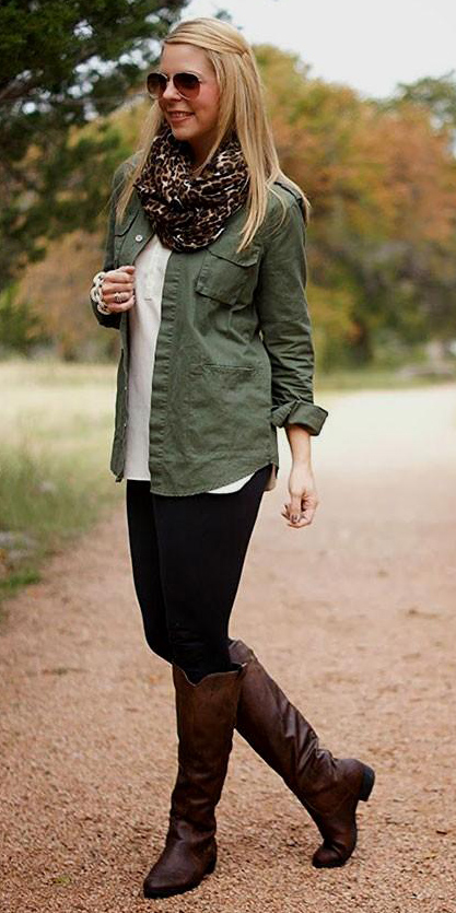 black-leggings-white-tee-green-olive-collared-shirt-brown-scarf-leopard-sun-wear-outfit-fashion-fall-winter-brown-shoe-boots-blonde-lunch.jpg