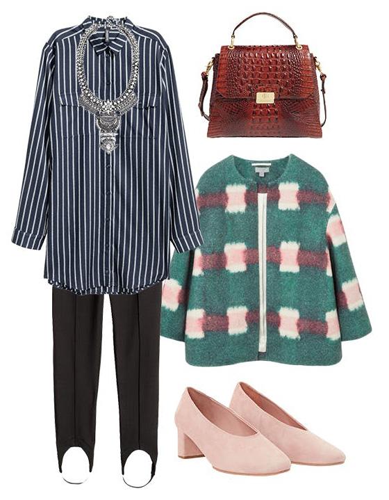 black-leggings-blue-navy-collared-shirt-pinstripe-bib-necklace-green-emerald-jacket-boxy-mixprints-pink-shoe-pumps-brown-bag-fall-winter-work.jpg