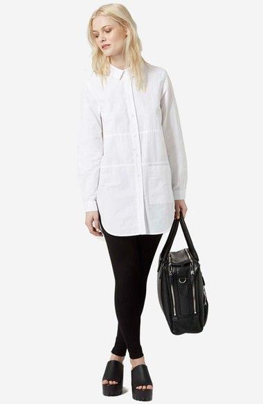 black-leggings-white-collared-shirt-black-bag-wear-style-fashion-fall-winter-black-shoe-sandalw-wedges-tunic-blonde-work.jpg