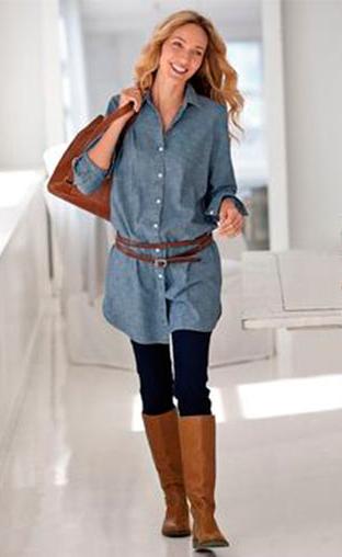 black-leggings-blue-light-collared-shirt-tunic-cognac-bag-chambray-wear-outfit-fashion-fall-winter-cognac-shoe-boots-tunic-belt-blonde-lunch.jpg