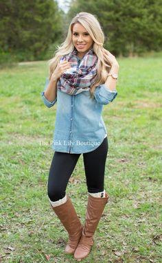 black-leggings-blue-light-collared-shirt-chambray-wear-outfit-fashion-fall-winter-cognac-shoe-boots-plaid-blonde-weekend.jpg