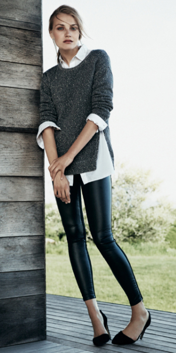 black-leggings-white-collared-shirt-grayd-sweater-pony-wear-style-fashion-fall-winter-black-shoe-pumps-office-blonde-work.jpg