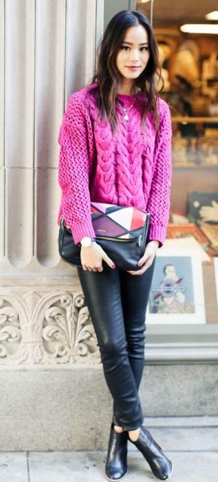 black-leggings-pink-magenta-sweater-black-bag-clutch-jamiechung-black-shoe-booties-leather-brun-fall-winter-holiday-dinner.jpg