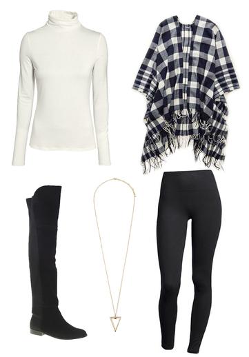 black-leggings-white-tee-turtleneck-blue-navy-cardiganl-cape-plaid-necklace-black-shoe-boots-fall-winter-weekend.jpg