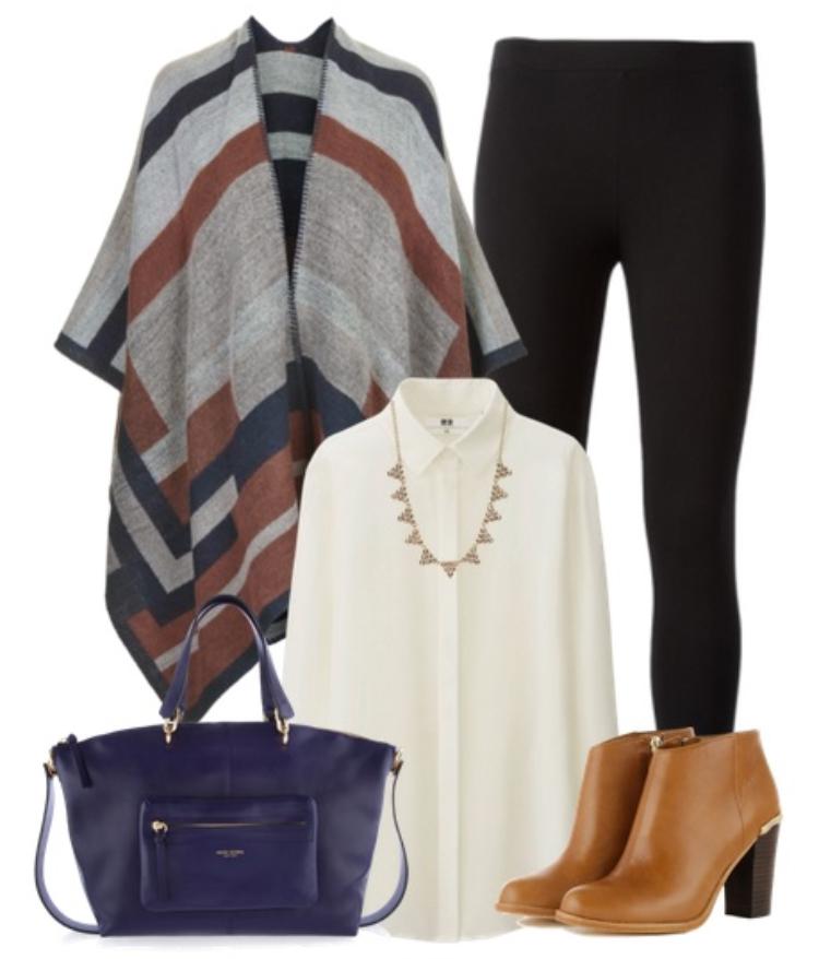black-leggings-white-top-blouse-grayl-cardiganl-necklace-tan-shoe-booties-purple-bag-fall-winter-stripe-poncho-cape-lunch.jpg