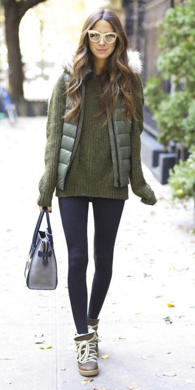 black-leggings-green-olive-sweater-green-olive-vest-puffer-sun-brown-shoe-booties-fall-winter-hairr-weekend.jpg